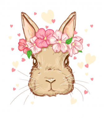 cute Bunny with  hearts