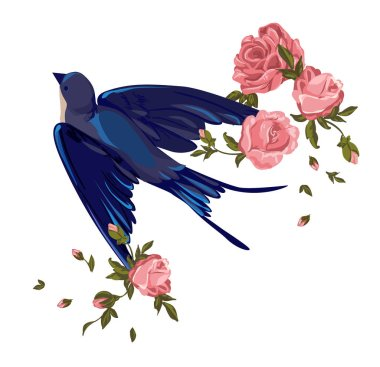 swallow with flowers on purple background