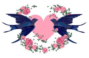 Swallows on the heart with flowers