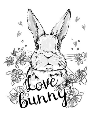 Bunny with flowers and hearts on white background clip art vector