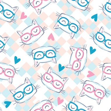 cute cats with glasses seamless pattern