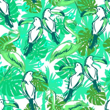 toucan and flamingo pattern