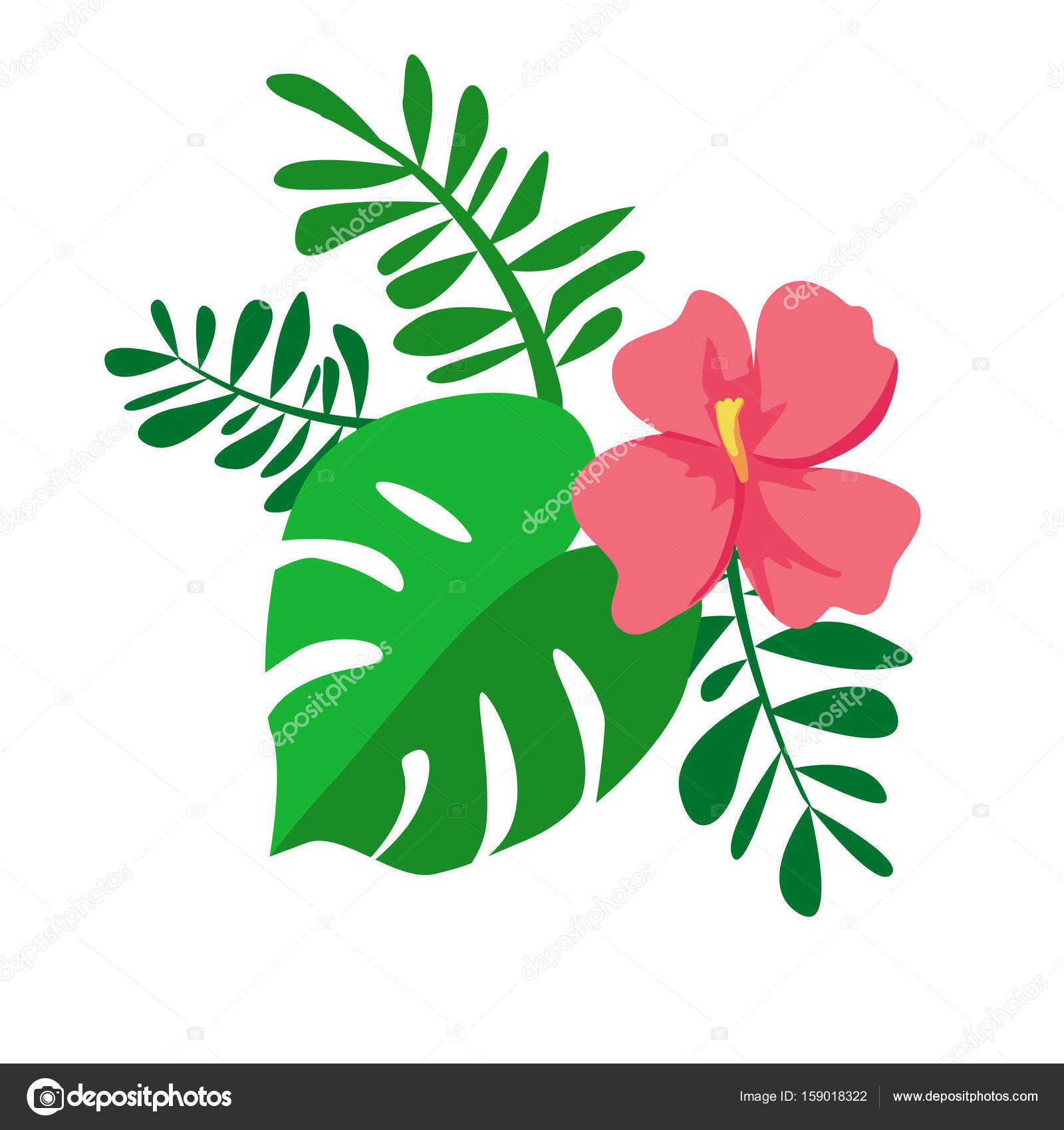Pink Flower And Tropical Leaves Stock Vector Alsoush 159018322