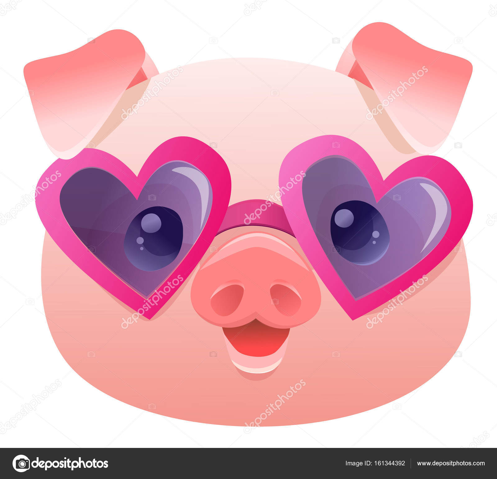 Cute Pig In Sunglasses Cartoon Vector Illustration By AlsouSh
