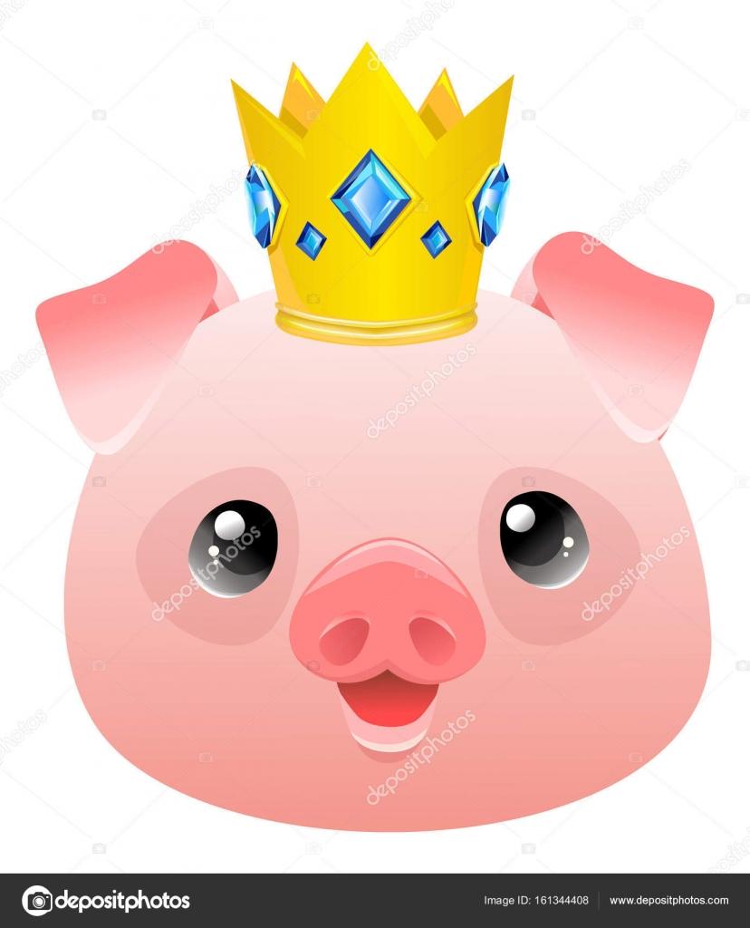 黄金の王冠にかわいいブタ ストックベクター Alsoush 161344408
