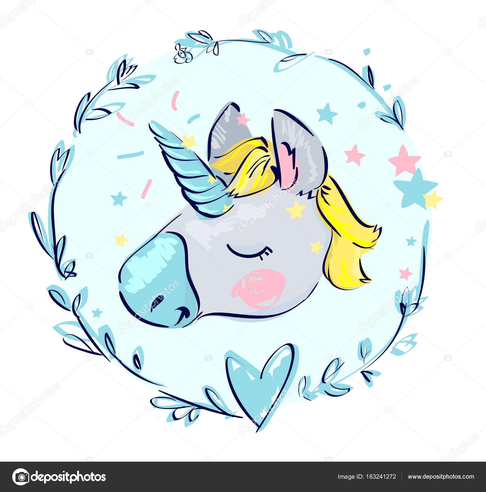dibujos animados unicornio en guirnalda floral — Vector de ...
