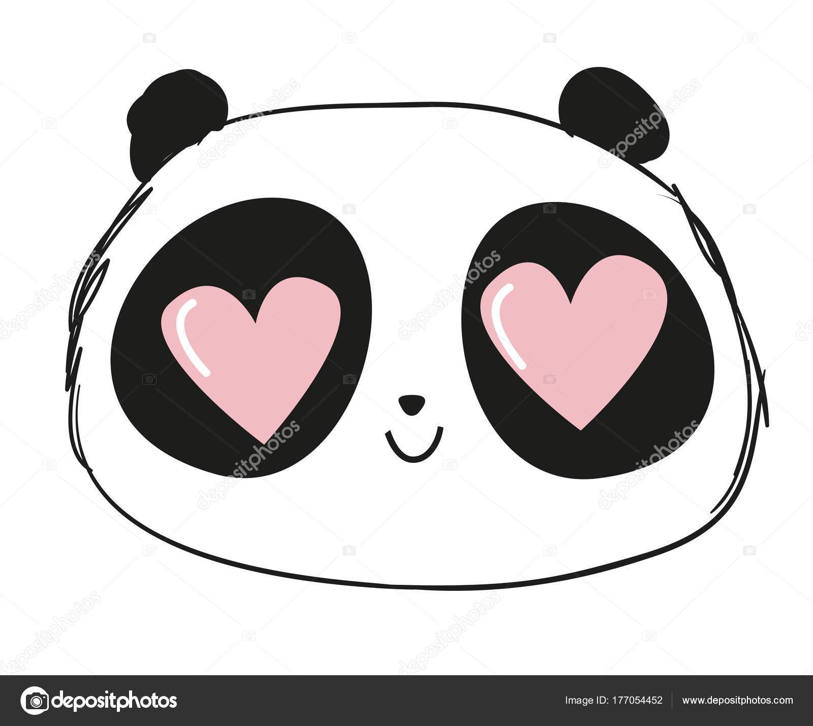 かわいい漫画の手描きイラスト パンダ目 バレンタインの日の概念で心に