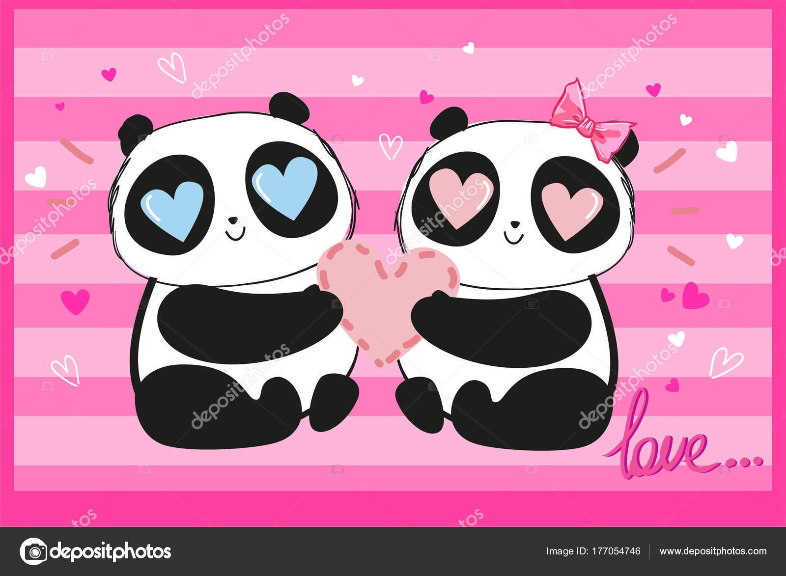 手描きイラストかわいい夢中心 バレンタインの日の概念を持ってパンダの