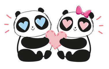 Hand drawn illustration of cute enamored couple of pandas holding heart, valentine day concept