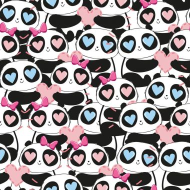 seamless pattern with cute cartoon enamored panda bears with hearts in eyes , valentine day concept