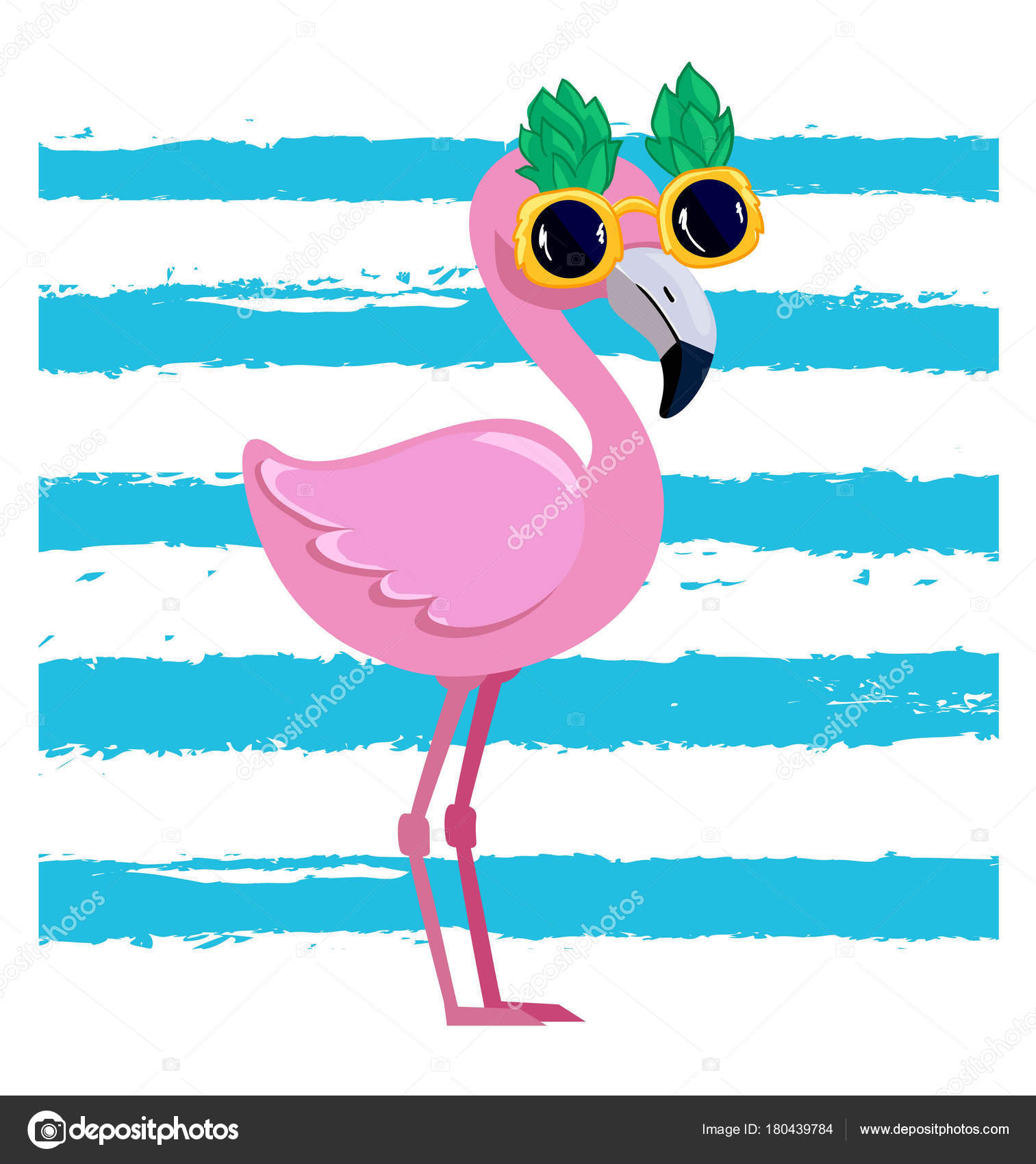 Cute Flamingo Vector Illustration Summer Print Design