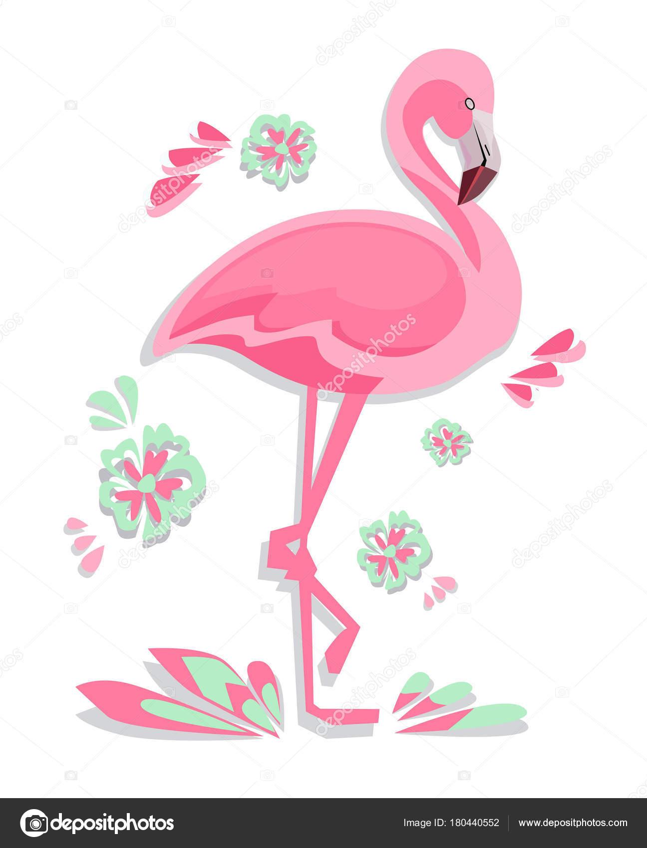 Niedliche Flamingo Vektor Illustration Print Design Sommer