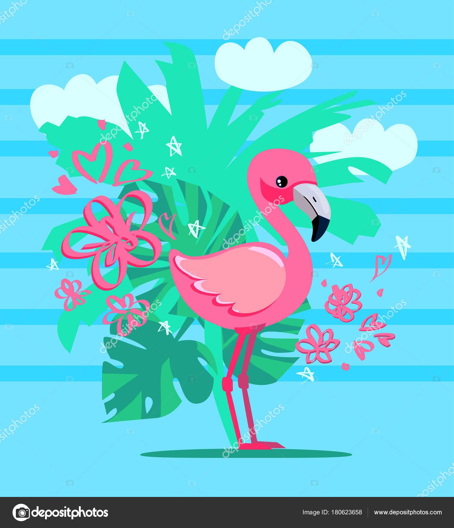 Hand Gezeichnet Flamingo Vektor Illustration Sommer Print