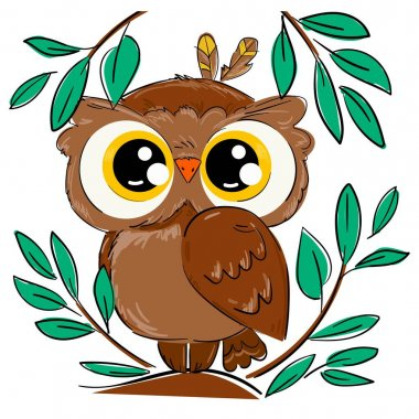 Hand drawn cute owl sitting on a branch with foliage isolated on a white background. Bird vector . Beautiful childish print design elements.