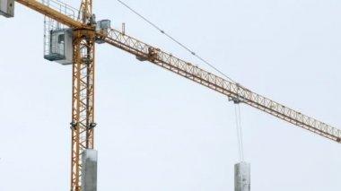 Construction crane working tower building 4k