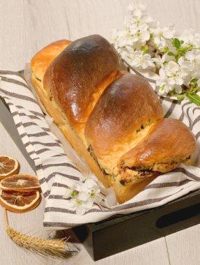 Romanian Easter bread Cozonac on Easter Table