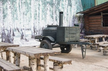 A mobile field kitchen.