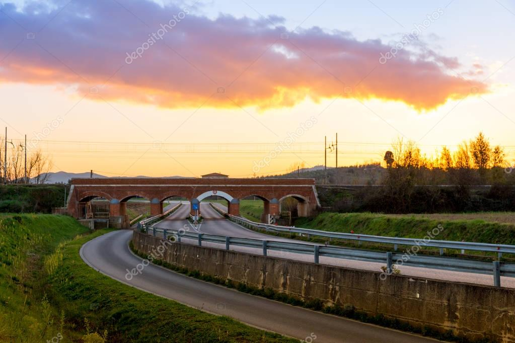 Old train overpass in maremma, tuscany