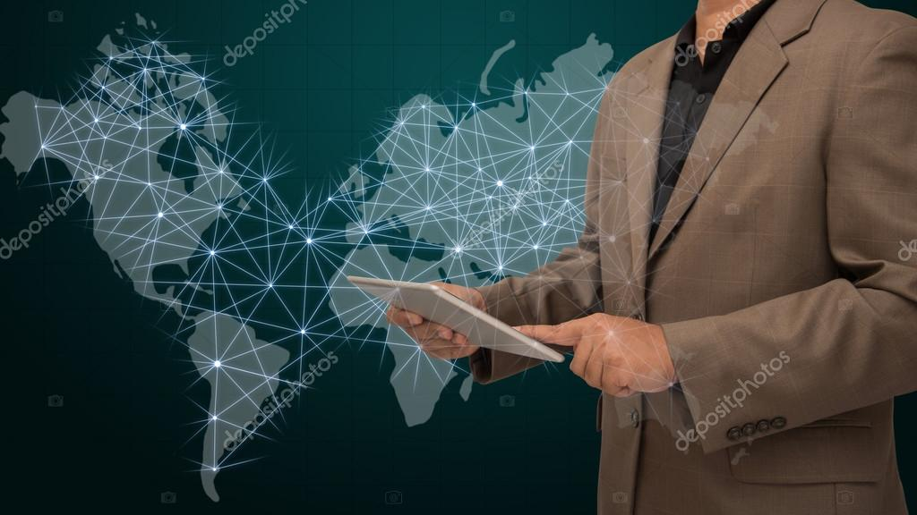 Business man using tablet with visual world map screen background business man using tablet with visual world map screen background business concept photo by kwanchaidp gumiabroncs Choice Image