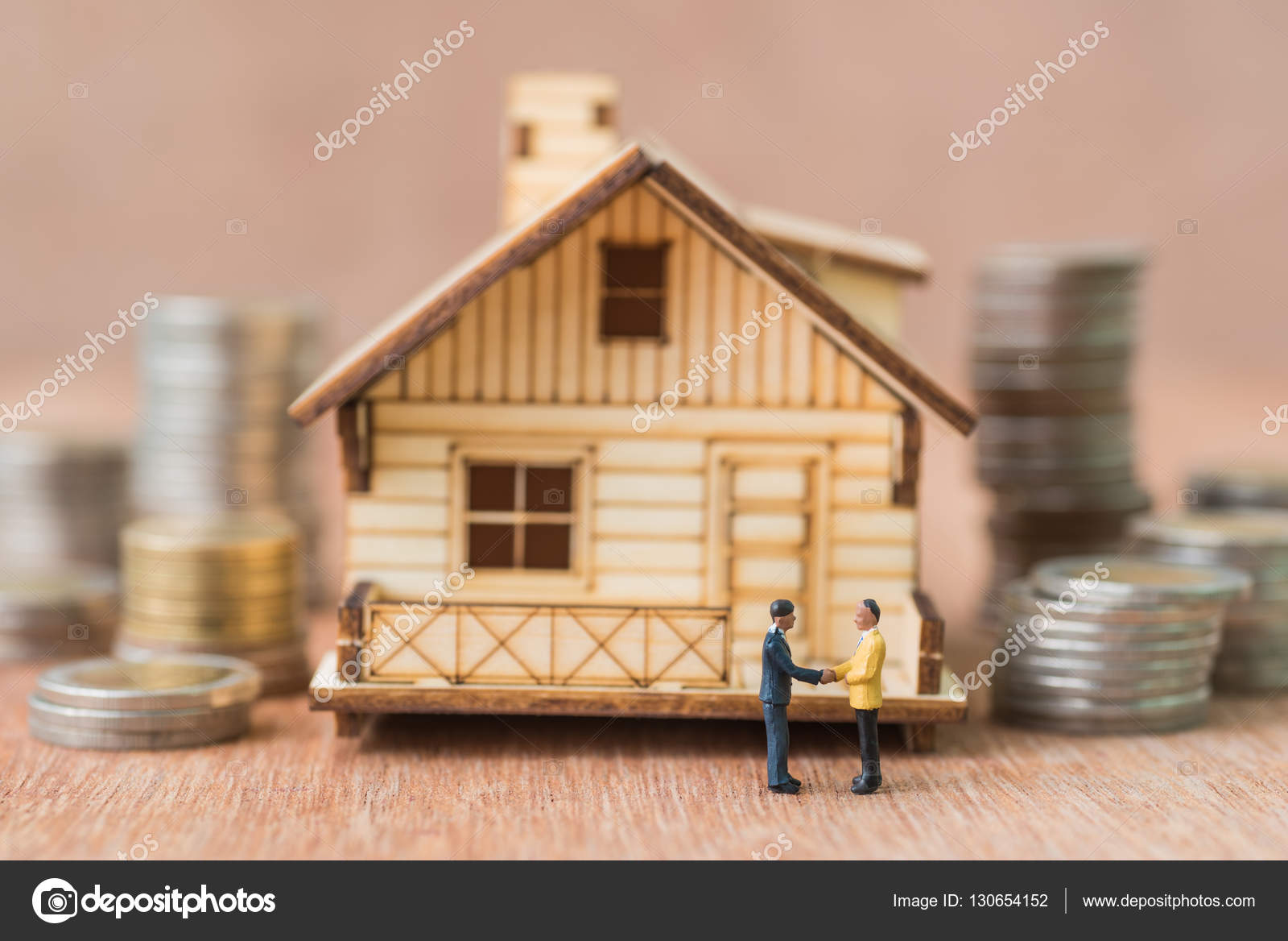 Business Miniature People Make Handshake With A House Model And Coins Stack  Background U2014 Photo By Kwanchaidp