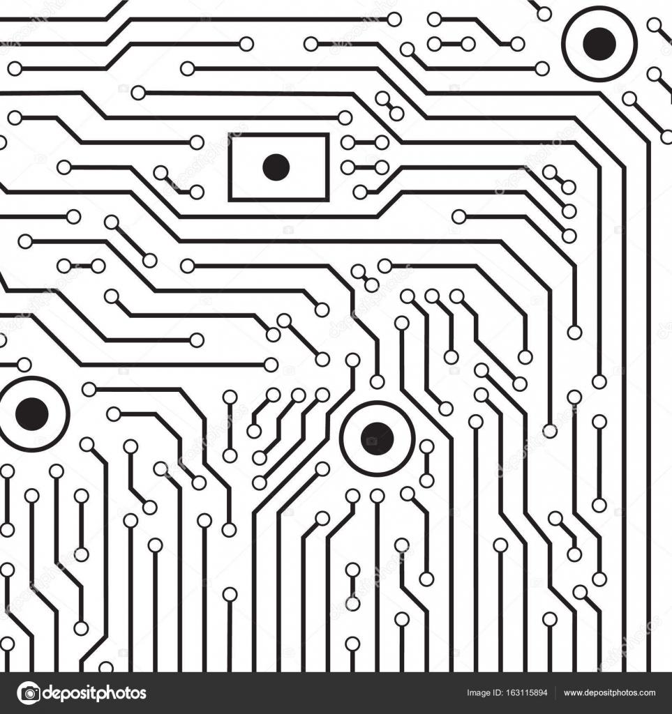 fond de carte de circuit imprimé vector noir et blanc — Image ...