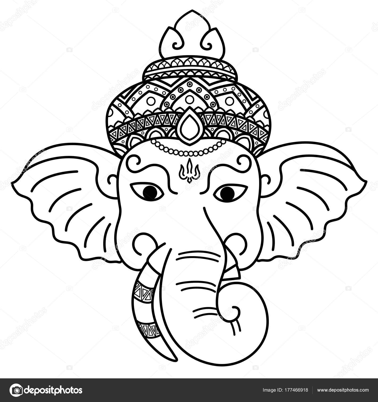 Ganesha Dios Sabiduría Diseño Vectorial — Archivo Imágenes ...