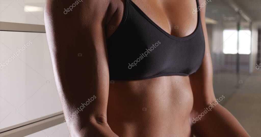Closeup of multiethnic asian woman biceps