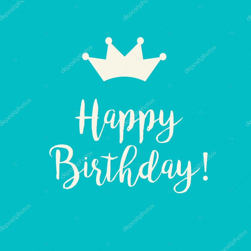 Teal Blue Happy Birthday Card With A Crown