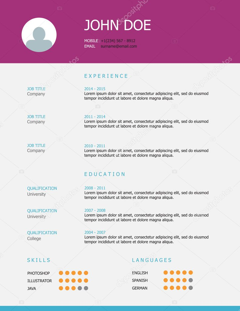 Resume template design with purple and blue headings professional simple styled resume template design with purple and blue headings winterbee yelopaper Gallery