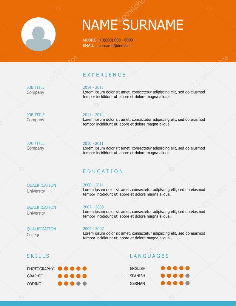 Resume Template Design With Orange Blue Headings