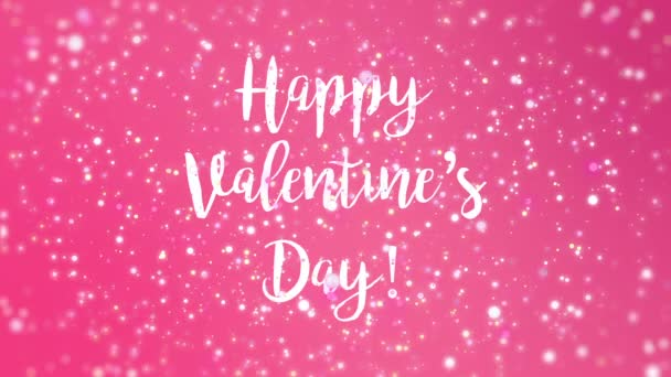 Romantic sparkly pink Happy Valentines Day greeting video