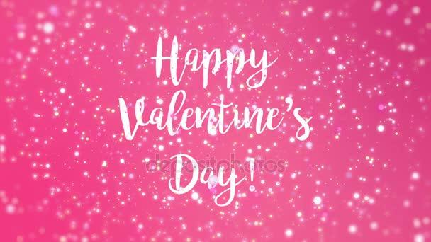 Romantikus csillogó rózsaszín boldog Valentin-napi köszöntés videó