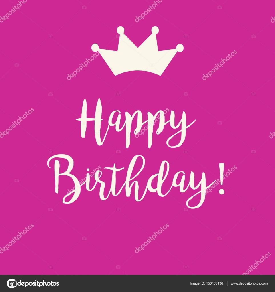 Tarjeta de felicitación del feliz cumpleaños con una corona de color ...