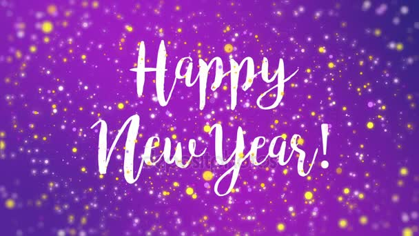 sparkly purple happy new year greeting card video stock video
