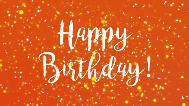 Sparkly Orange Happy Birthday Greeting Card Video Stock Video