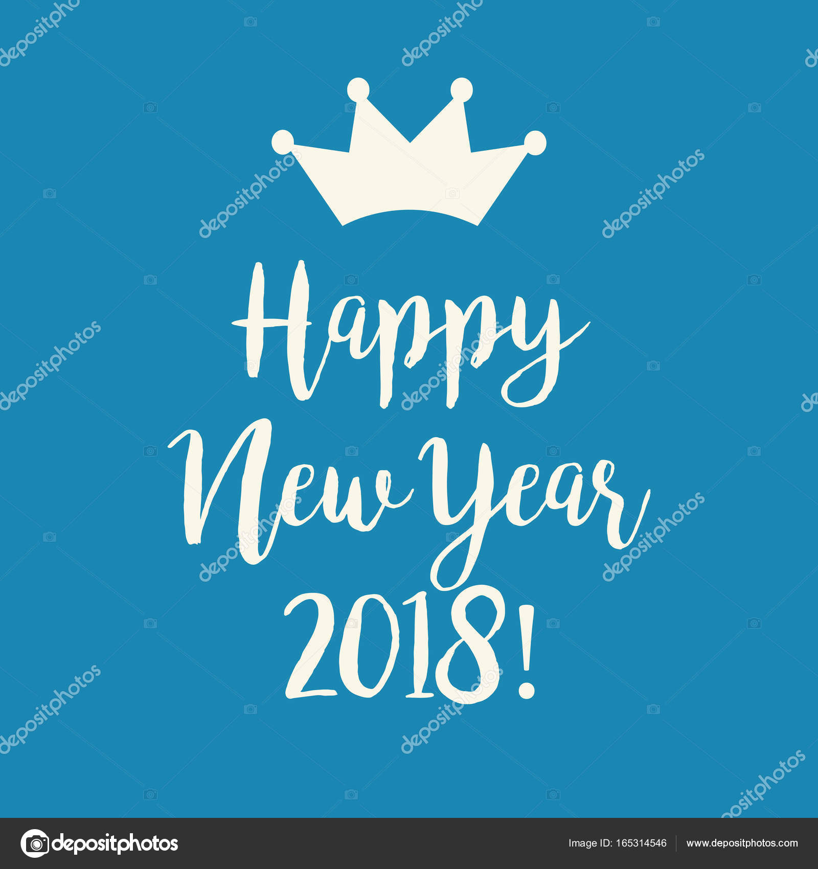 blue happy new year 2018 greeting card with a crown stock vector
