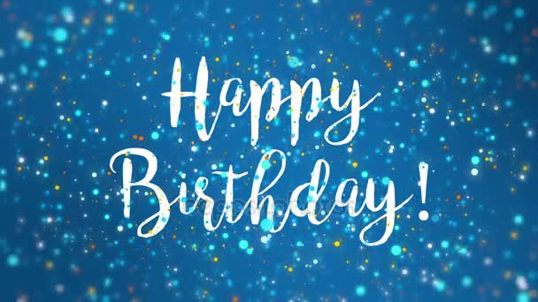 Sparkly Blue Happy Birthday Greeting Card Video Animation Handwritten Text Stock Footage