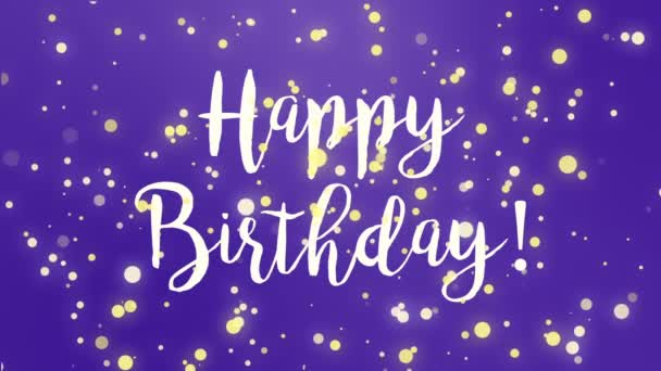 Purple Happy Birthday Greeting Card Video Animation Handwritten Text Falling Stock Footage