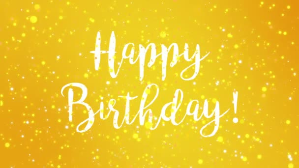 Sparkly Yellow Happy Birthday Greeting Card Video Animation