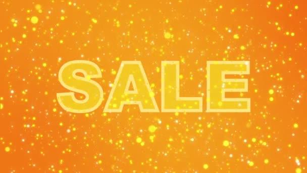 Animált csillogó narancssárga, sárga eladó jele a színes részecskék.