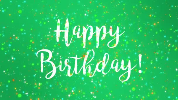 Sparkly Green Happy Birthday Greeting Card Video Animation Handwritten Text Stock