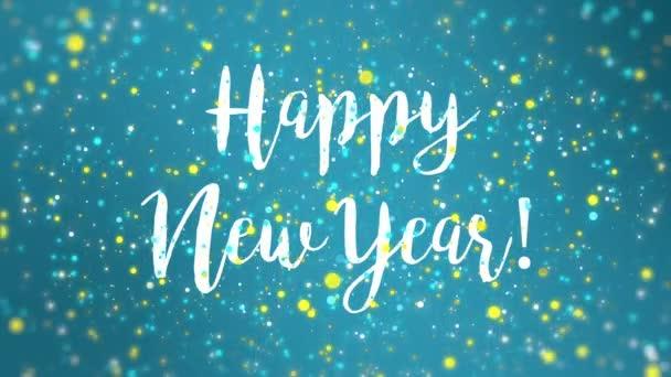 Csillogó kék sárga boldog új évet üdvözlő kártya OVA epizódnak a lehulló színes csillámos részecskék.