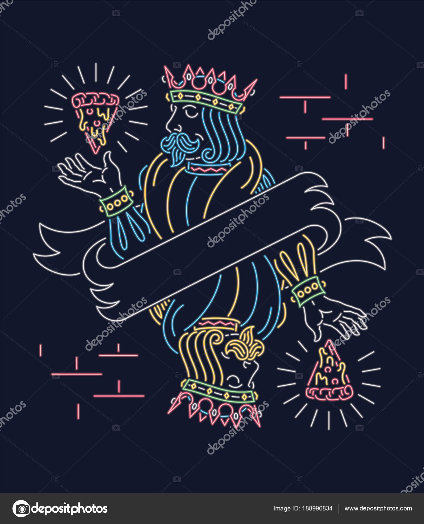 The King Of Pizza Wallpaper Neon Sign Design Stock Vector