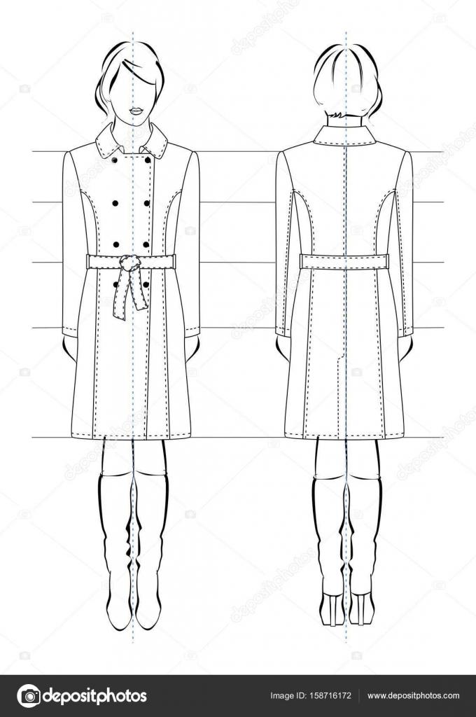 Dessin technique d un manteau de femme sur le mod le - Dessin de manteau ...