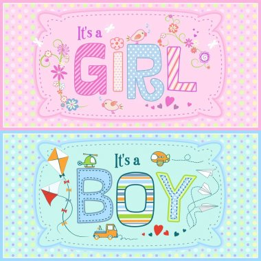 Set of two lovely cards for baby boy and baby girl