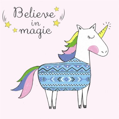 Believe in unicorn. Hand drawn freehand doodle original illustration. Freehand drawing stock vector
