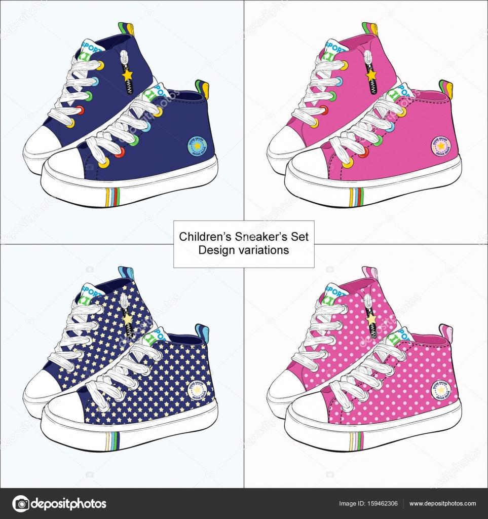 Set de zapatillas de deporte de los niños. Variaciones de
