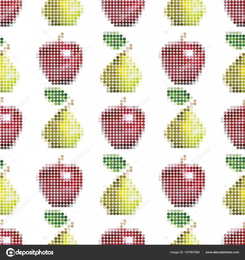 Seamless vector pattern with realistic pixel apples and pears ...