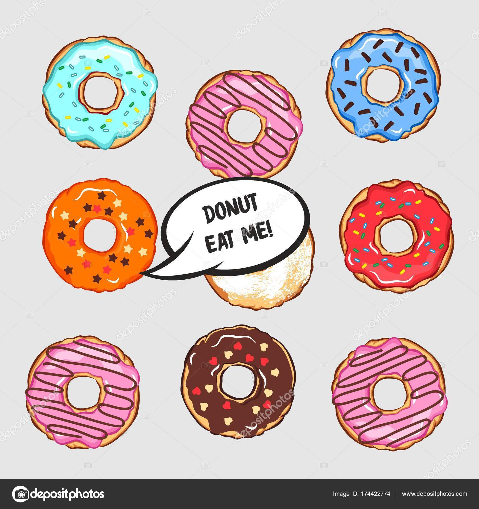 コミック クラウドとドーナツをレタリング色ドーナツのセットのベクトル