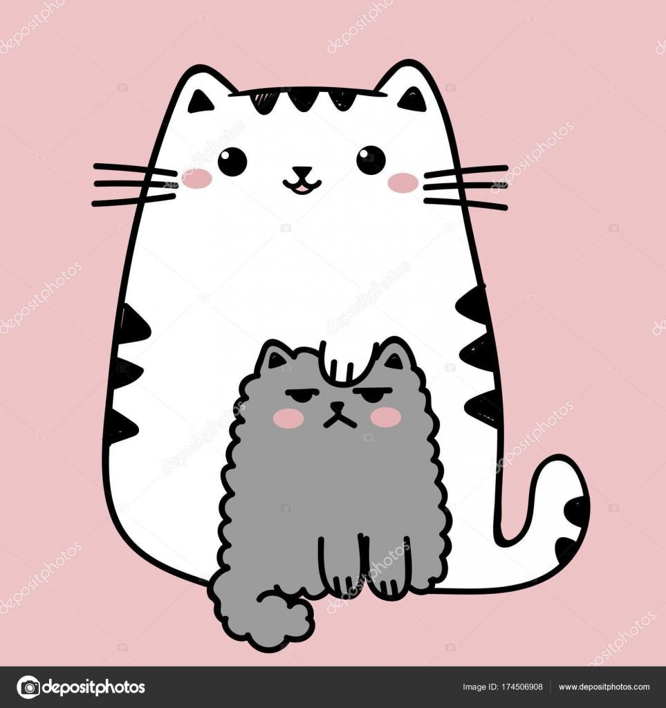 Kawaii ładny Gruby Biały I Szary Koty Na Białym Tle Na Różowym Tle